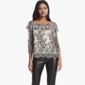 White House Black Market Off the Shoulder Lace Top